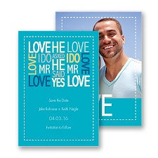 Words of Love - Palm - Mr and Mr - Save the Date Card