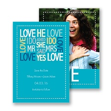 Words of Love - Palm - Mr and Mrs - Save the Date Card