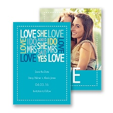 Words of Love - Palm - Mrs and Mrs - Save the Date Card
