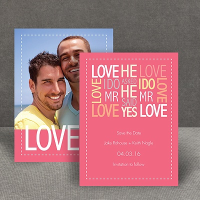 Words of Love - Posie Pink - Mr and Mr - Save the Date Card
