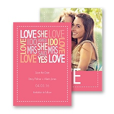 Words of Love - Posie Pink -  Mrs and Mrs - Save the Date Card