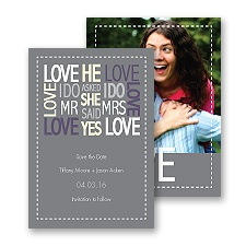 Words of Love - Pewter - Mr and Mrs - Save the Date Card