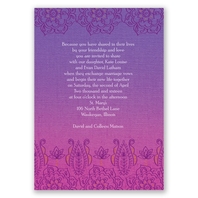 Henna Floral - Grapevine - Invitation