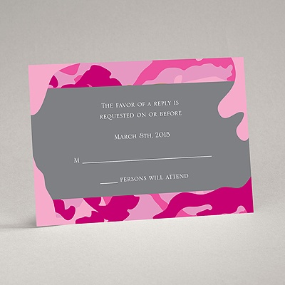 Romantic Camo - Fuchsia - Response Card and Envelope