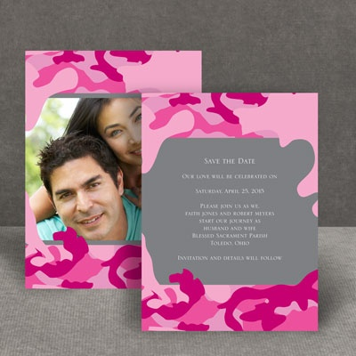 Romantic Camo - Fuchsia - Save the Date Card