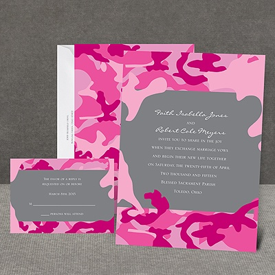 Romantic Camo - Fuchsia - Invitation