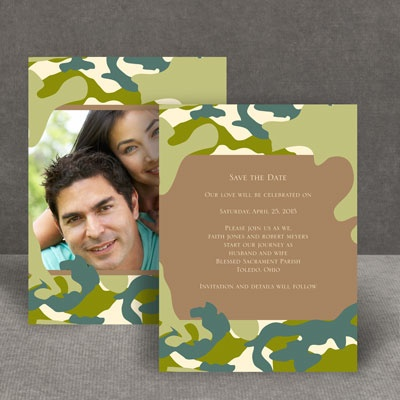 Romantic Camo - Moss Green - Save the Date Card