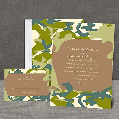 Romantic Camo - Moss Green - Invitation