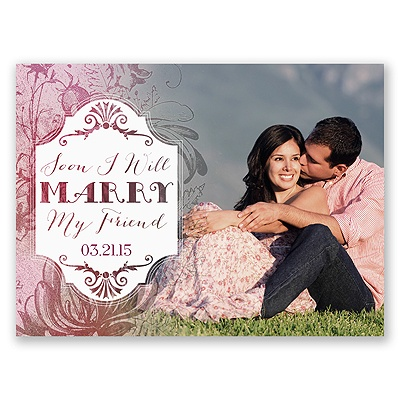 Antique Charm - Cotton Candy - Save the Date Card