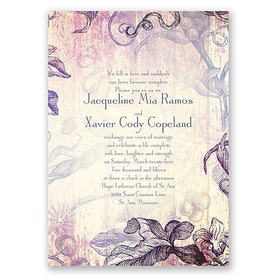 Antique Charm - Lavender - Invitation