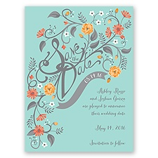 Floral Fancy - Aqua - Save the Date Card