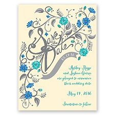 Floral Fancy - Ecru - Save the Date Card