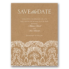 Lace on Kraft - Save the Date Card