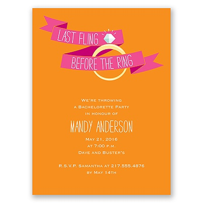 Before the Ring - Deep Orange - Bachelorette Party Invitation