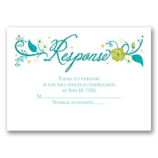 Flowering Faith - Aqua - Response Card and Envelope