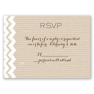 Painted Burlap - Response Card and Envelope
