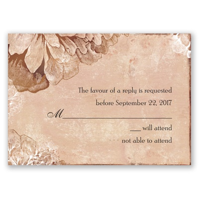 Timeless Peonies - Bark - Response Card and Envelope