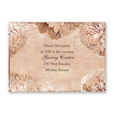 Timeless Peonies - Bark - Reception Card