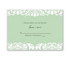 White Flourishes - Kelly Green - Response Card and Envelope