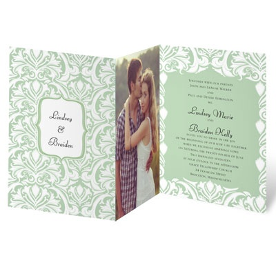 White Flourishes - Kelly Green - Invitation