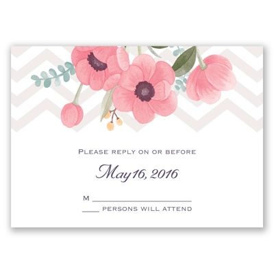 Chevron Floral - Response Card and Envelope