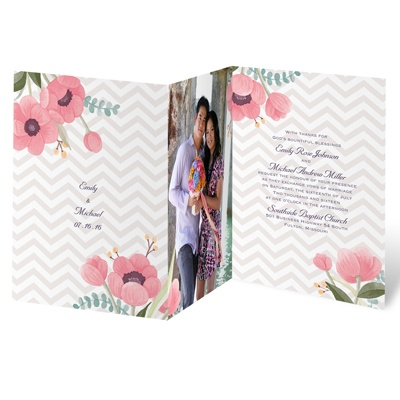 Chevron Floral - Invitation