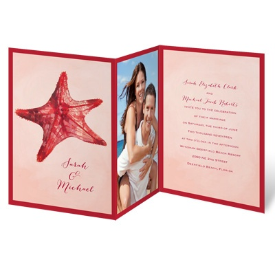 Watercolor Starfish - Merlot - Invitation