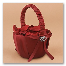 With All My Heart - Claret Satin Basket