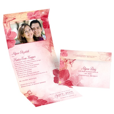 Flowers and Butterflies - Barn Red - Seal and Send Invitation