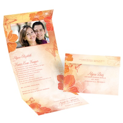 Flowers and Butterflies - Tango - Seal and Send Invitation