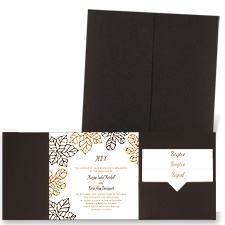 Stenciled Leaves - Brown Shimmer - Pocket Invitation