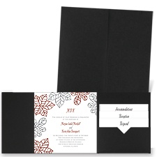 Stenciled Leaves - Black - Pocket Invitation