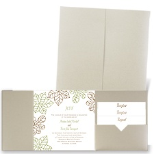 Stenciled Leaves - Gold Shimmer - Pocket Invitation