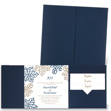 Stenciled Leaves - Navy - Pocket Invitation