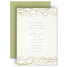 Twigs on Burlap - Olive - Invitation