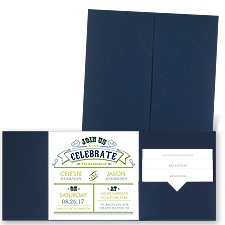 Join the Celebration - Navy - Pocket Invitation