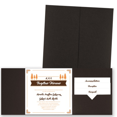 Pleasant Pines - Brown Shimmer - Pocket Invitation