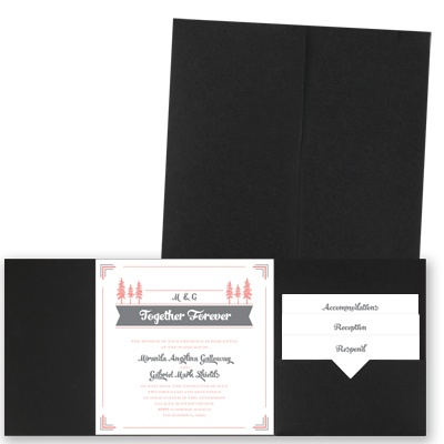 Pleasant Pines - Black - Pocket Invitation