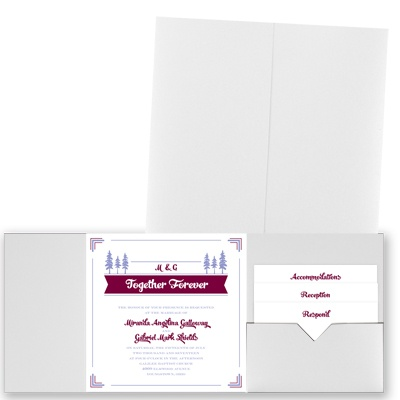 Pleasant Pines - White Shimmer - Pocket Invitation