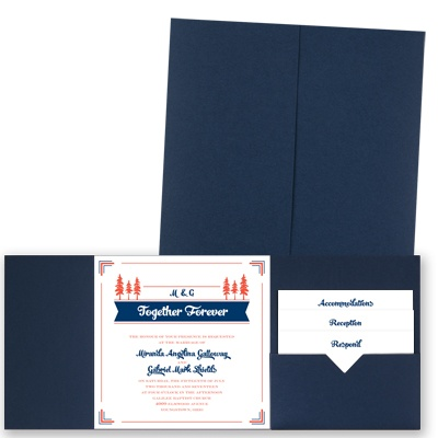 Pleasant Pines - Navy - Pocket Invitation