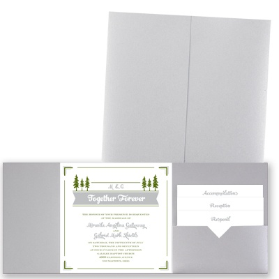 Pleasant Pines - Silver Shimmer - Pocket Invitation
