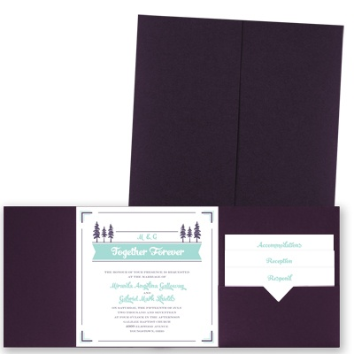 Pleasant Pines - Eggplant - Pocket Invitation