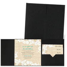 Burlap and Lace - Black - Pocket Invitation