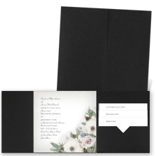 Winter Floral - Black - Pocket Invitation