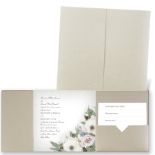Winter Floral - Gold Shimmer - Pocket Invitation