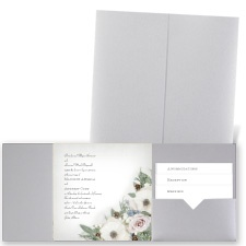 Winter Floral - Silver Shimmer - Pocket Invitation