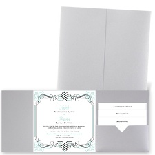Lavish Border - Silver Shimmer - Pocket Invitation