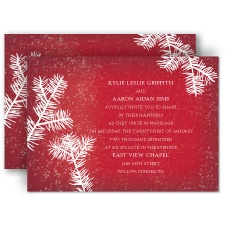Snowy Pines - Barn Red - Invitation