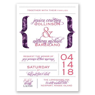 Typography in Camo - Amethyst - Invitation