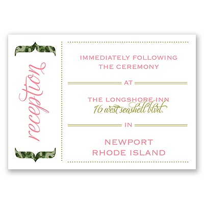 Typography in Camo - Moss Green - Reception Card